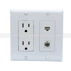 Cat5e Wiring Diagram Wall Socket Car Wire 15 Amp Power Outlet 1 Port Coax Shielded Ethernet Decora Plate