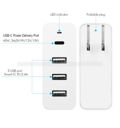 usb c wall charger 60w allsmartlife 4 port usb charger station with one 45w usb c pd port for macbook pro nexus 5x 6p nintendo switch and 3 usb smart ic  [ 1500 x 1500 Pixel ]