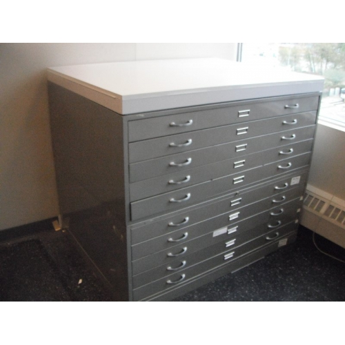 Map Cabinet Flat File 10 Drawer 2 pc Base Top  Allsoldca  Buy  Sell Used Office Furniture