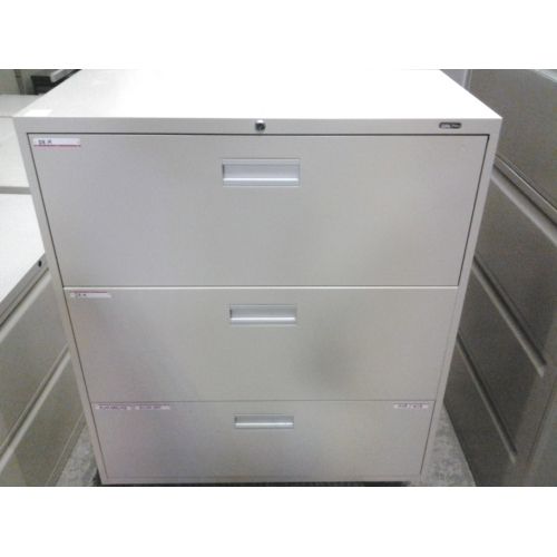 Staples Bisque 3 Drawer Filing Cabinet Lateral Locking