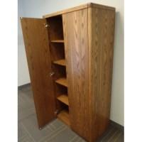 Wood 2-Door Enclosed Storage Cabinet 5-Shelves Bull ...