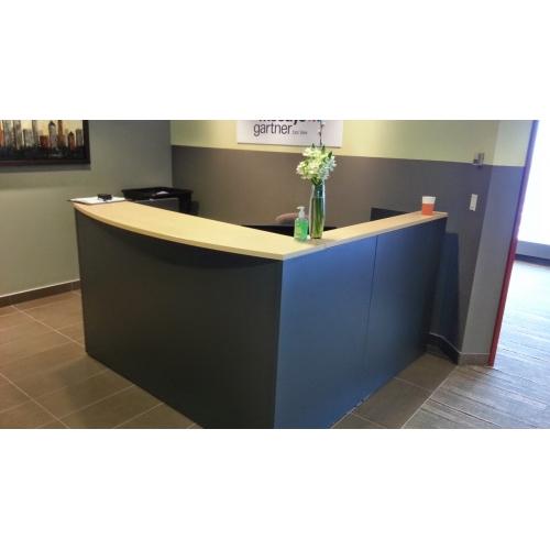 Global Grey Blonde LShape Reception Desk w Transaction Counter  Allsoldca  Buy  Sell Used