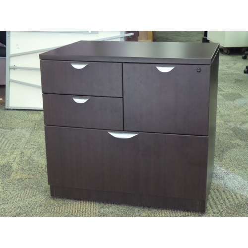 Mahogany 4 Drawer Double Wide Pedestal File Cabinet