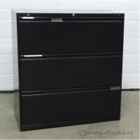 Meridian Black 3 Drawer Lateral File Cabinet, Locking ...