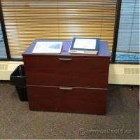 "Mahogany 36"" 2 Drawer Lateral File Cabinet, Locking ..."