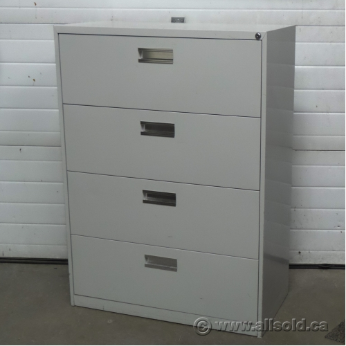 Grey 4 Drawer Lateral File Cabinet Locking  Allsoldca