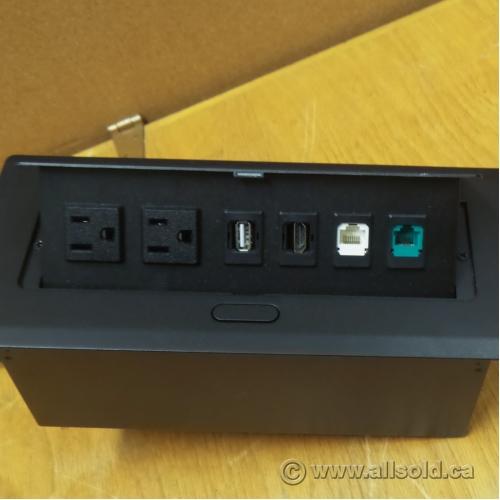 Desk Power Grommet 2 Power Sockets USB HDMI Phone RJ45