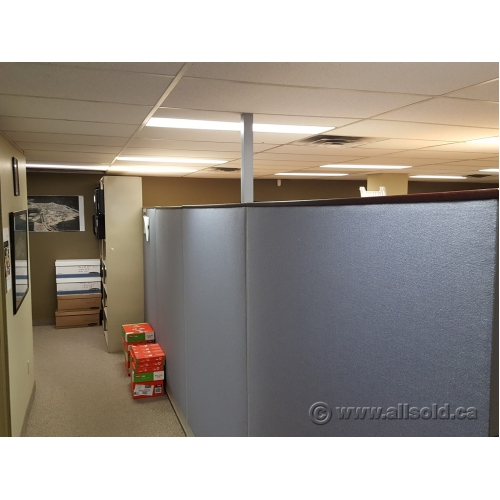 herman miller celle chair small rocker recliner swivel blue fabric panel office cubicle dividers, dark wood trim - allsold.ca buy & sell used ...