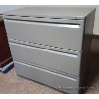 Herman Miller Grey 3 Drawer Lateral File Cabinet, Locking