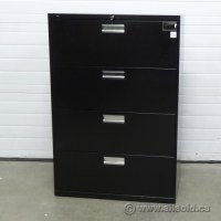 HON Black 4 Drawer Lateral File Cabinet, Locking w Key ...
