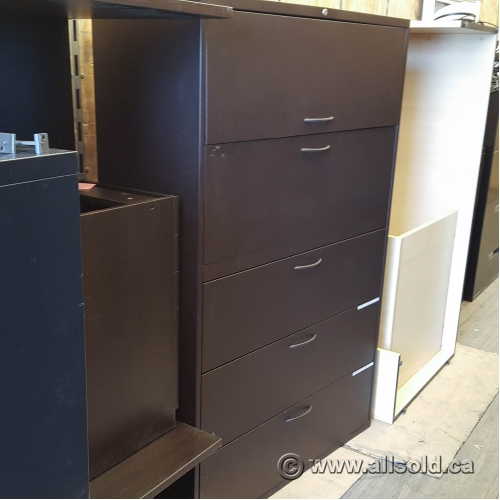 Black Teknion 5 Drawer Lateral File Cabinet  Allsoldca