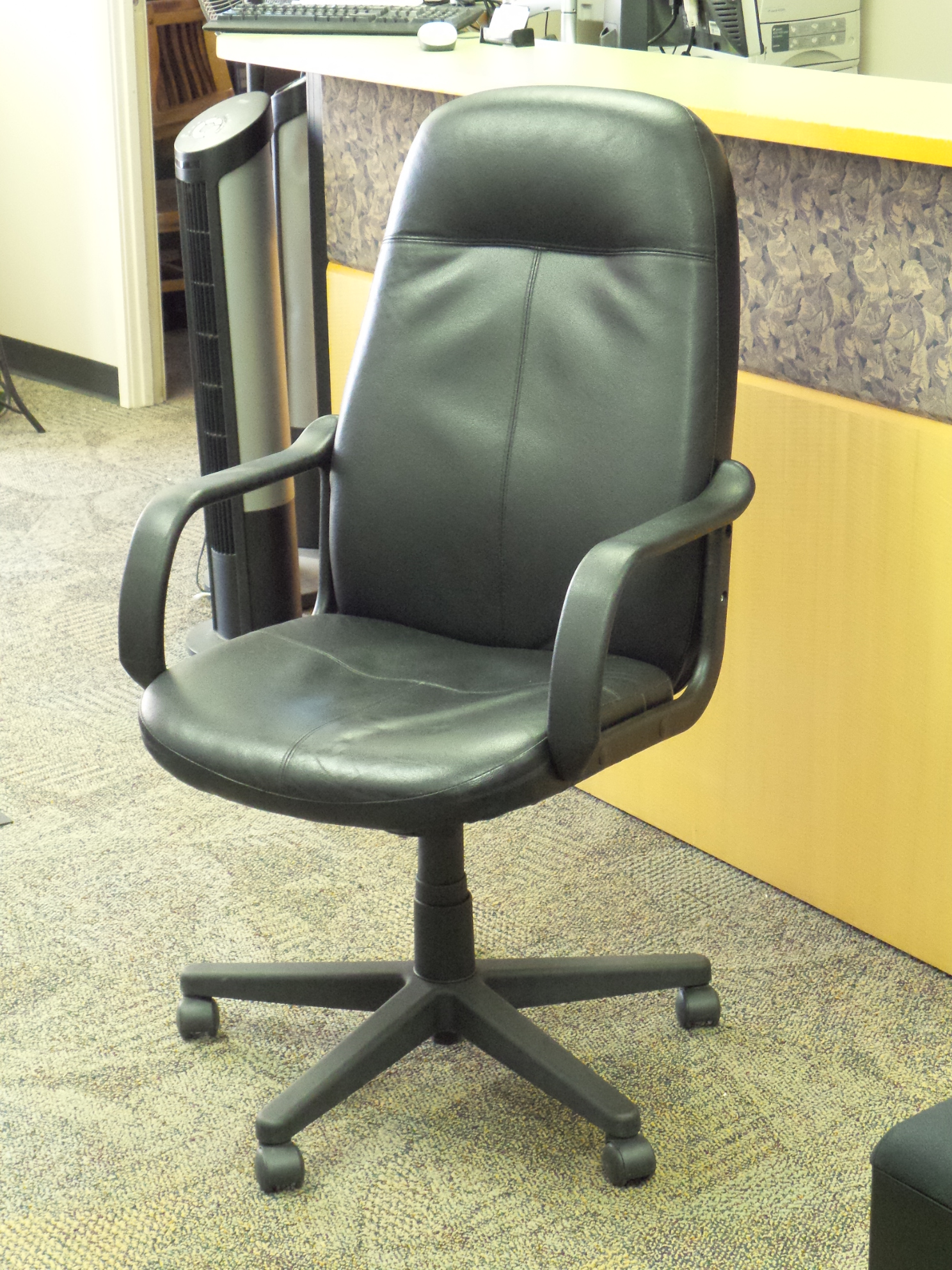 rolling chair parts phil teds poppy high back black leather executive meeting