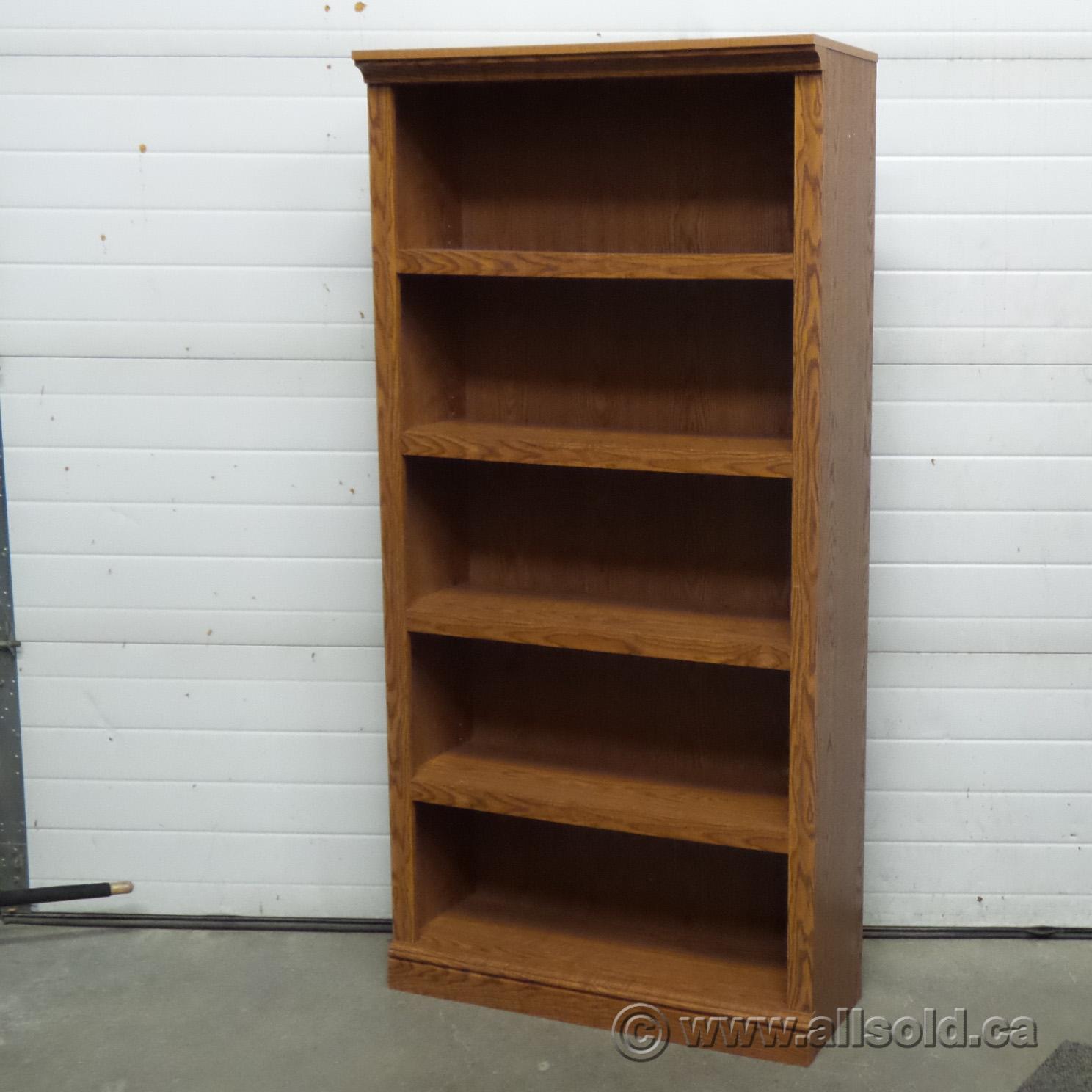 Oak 5 Shelf Adjustable Book Case Shelving w Decorative