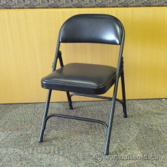 Black Padded Folding Chairs Kitchen For Heavy People Metal Chair With Seat And Back