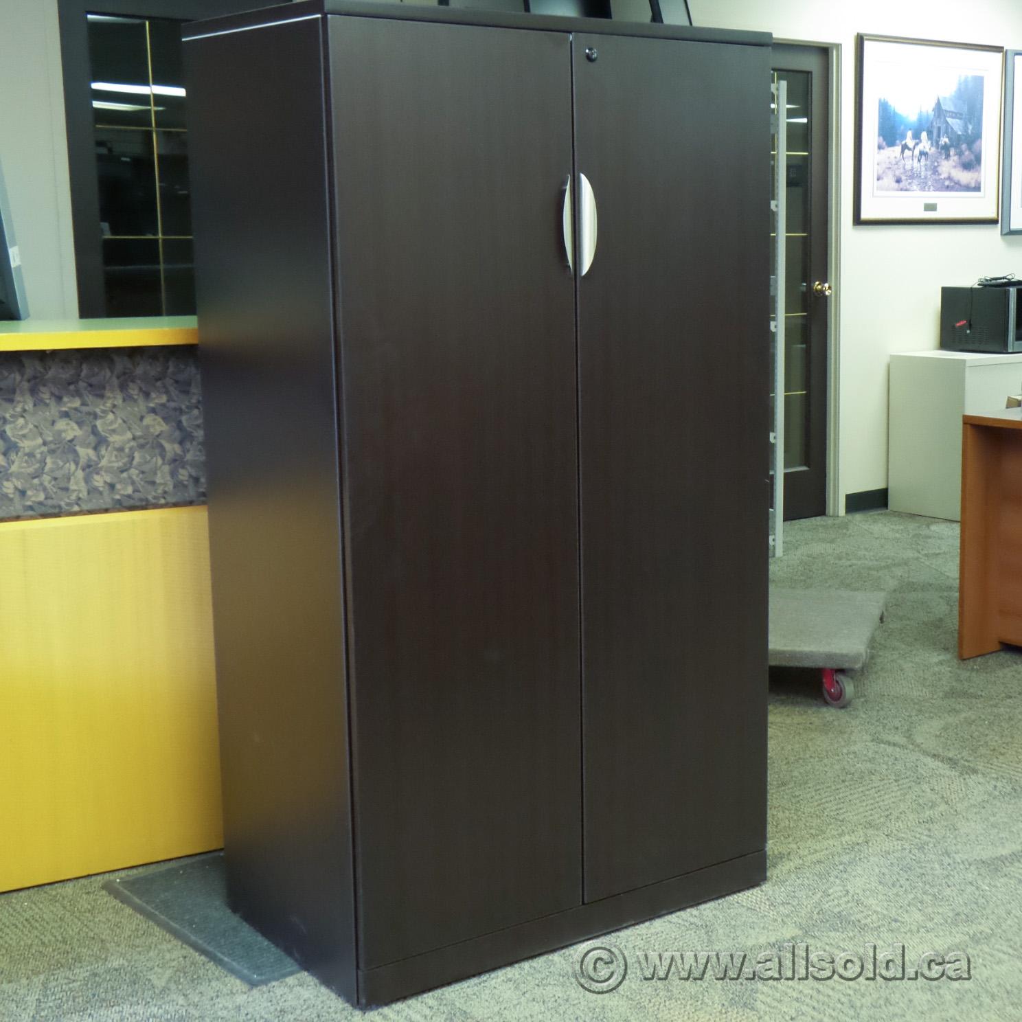 Espresso 65 2 Door 5 Shelf Storage Cabinet Locking