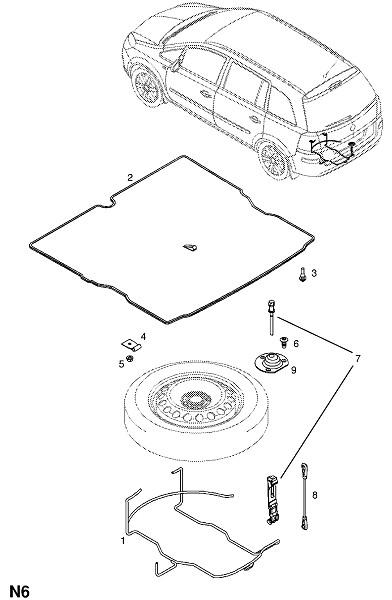 Каталог запчастей Opel ZAFIRA-B : Колеса : Фитинги