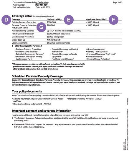 Condo Insurance Policy Declarations Allstate