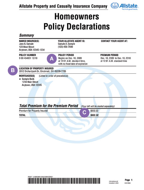 Policy Declarations Allstate Insurance