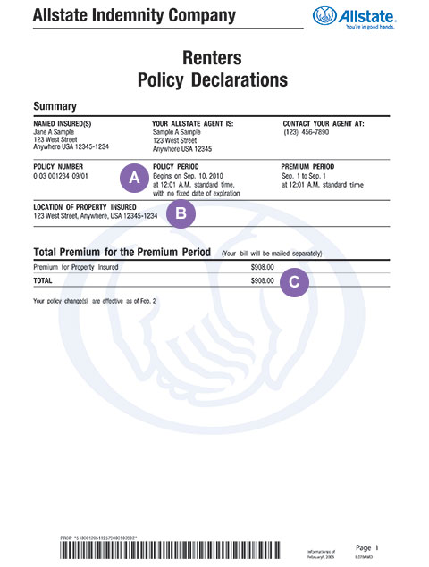 Policy Declarations  Renters Insurance Made Simple  Allstate