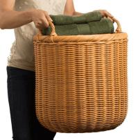 Extra Large Round Wicker Basket | Wooden Storage | Retail