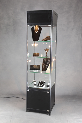 Square Lighted Tower Display Case  Retail Display Fixture