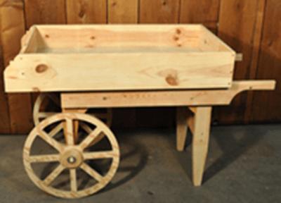 Vegetable Cart  Natural Wooden Cart  Rustic Display Cart