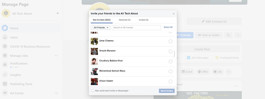 Invite All Your Friends to a Facebook Page