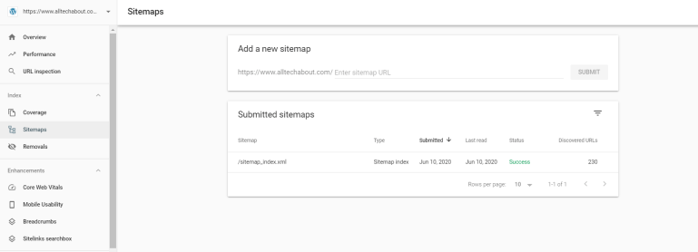 submit sitemap in google console