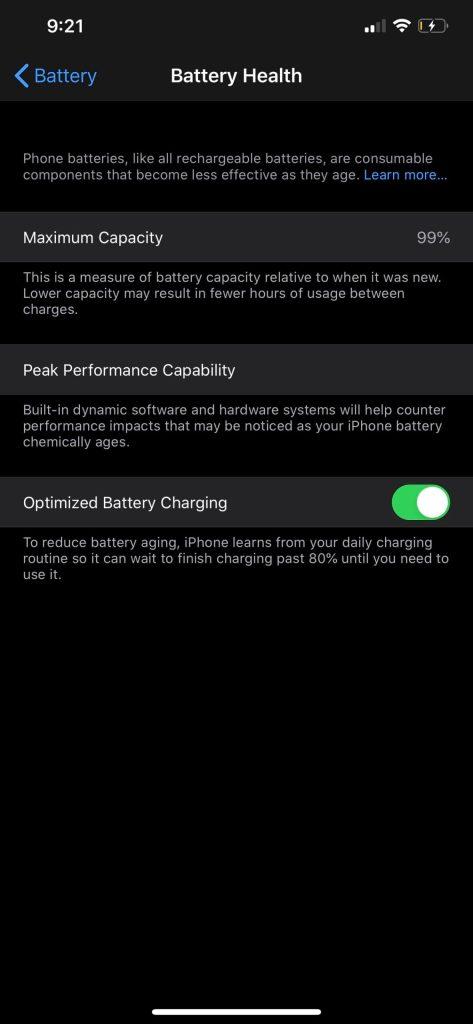iPhone battery health tool