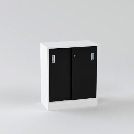 Allt För Kontor-skåp-med-skjutdorr-80x92cm-vit-svart