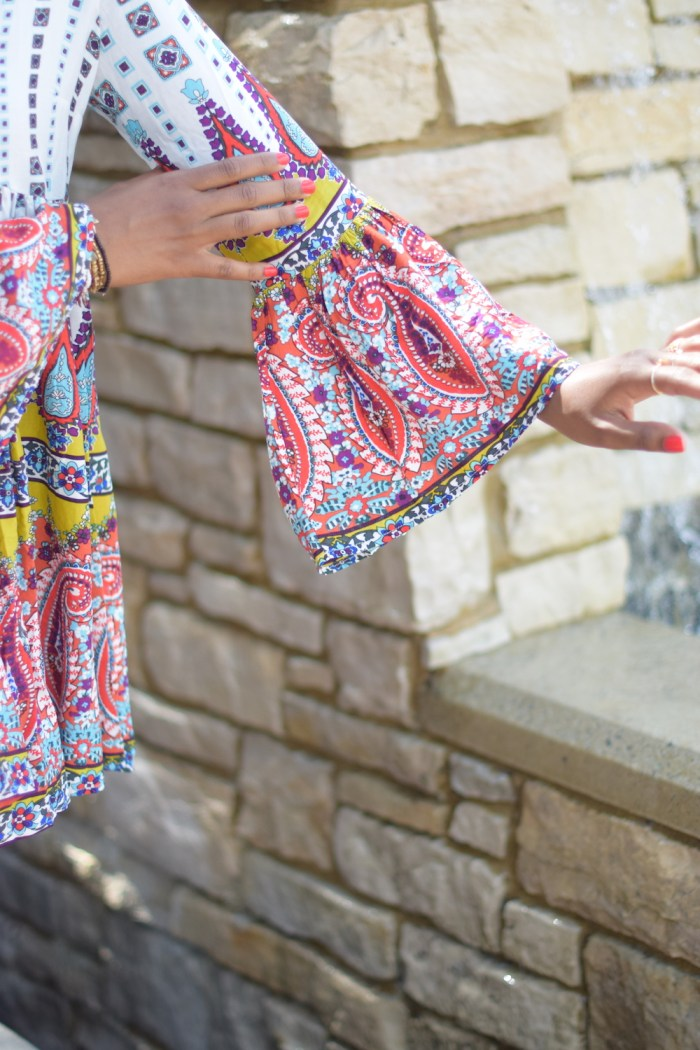 bell-sleeve-colorful-red-printed-dress