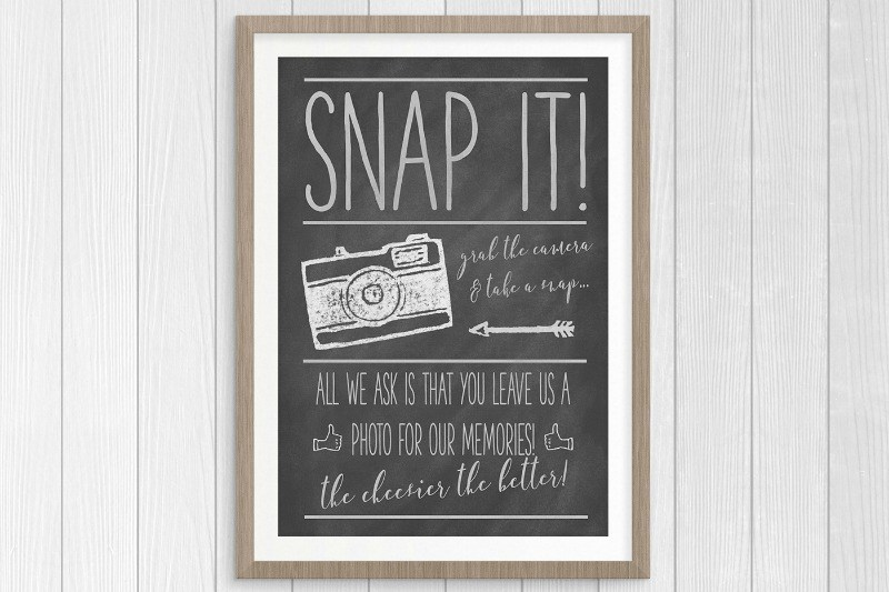 Free Printable Chalkboard Wedding Photo Guest Book Sign… Say Cheese!
