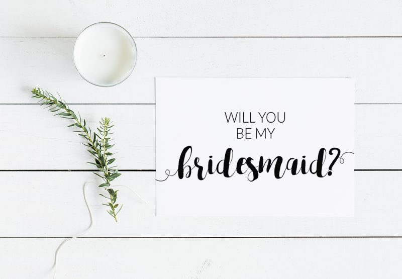 will you be my bridesmaid modern minimalist free printable card