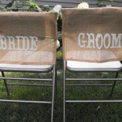 Burlap Chair Covers For Folding Chairs Backyard Lounge Bride Groom All The Rage Decor