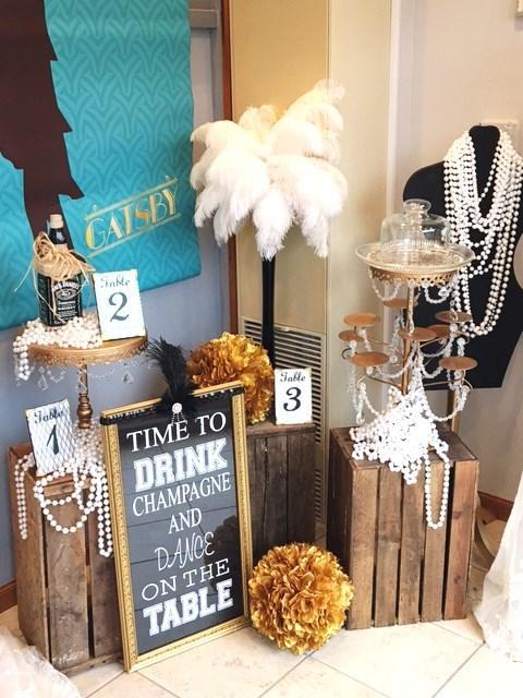 Great Gatsby themed wedding display  All the Rage Decor