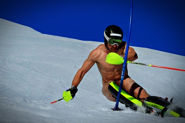 Girl topless photo of skier dad and