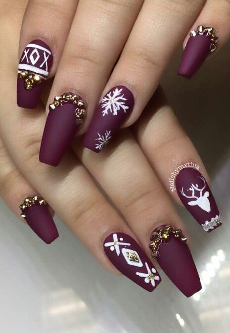 Christmas burgundy nail design winter nail art