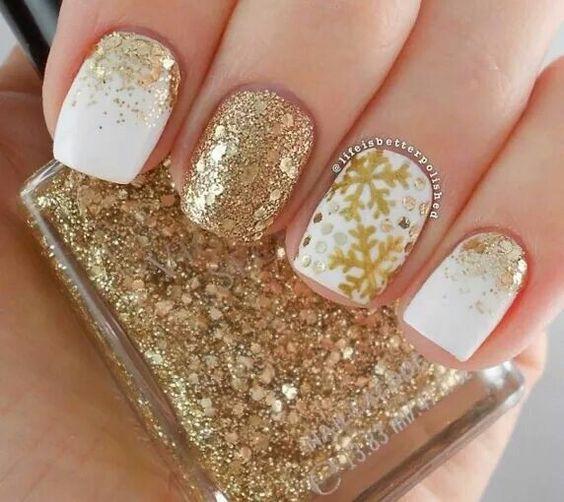 gold snowflake glitterwhite nail art christmas design