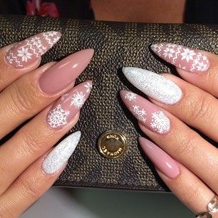 pink snowflake white nail art christmas design