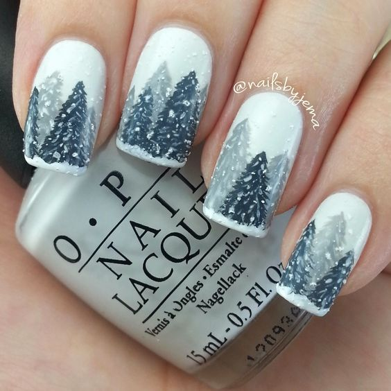 silver gray christmas tree white nail art christmas design