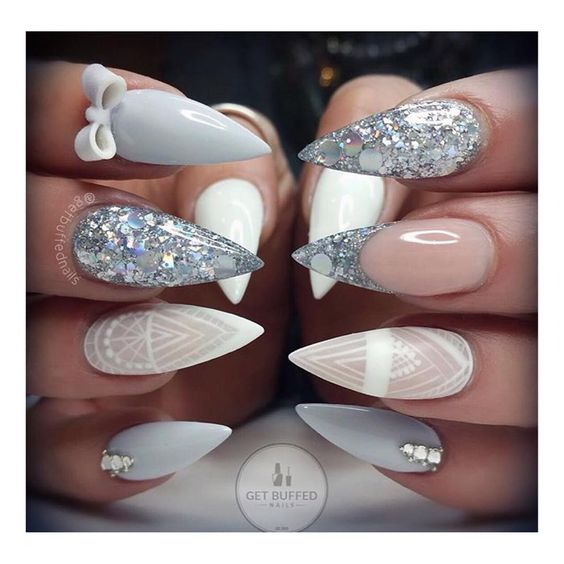 silver white nail art christmas design winter pink glitter