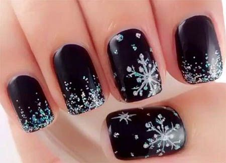winter-nails-cute-designs-black-white silver Christmas-glitter