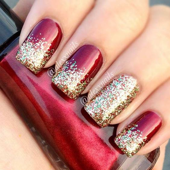 winter nails cute designs red gold glitter - Red Christmas Nails