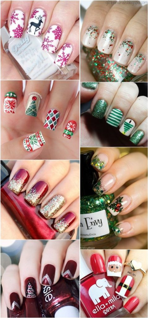 winter-nails-cute-designs-red-gold green-glitter