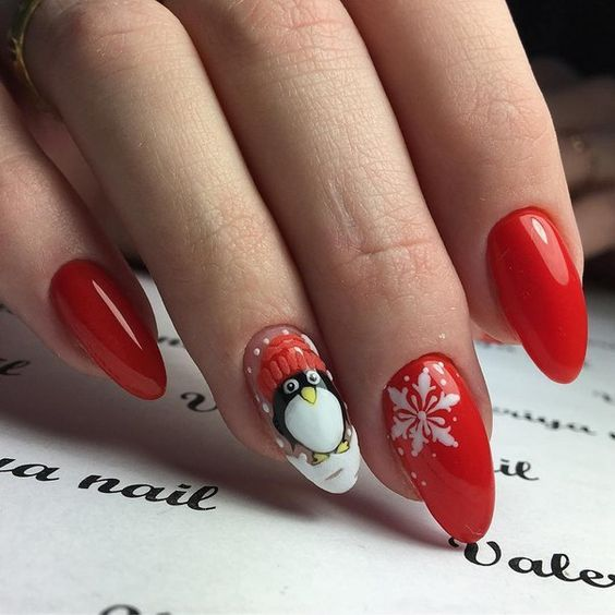 winter-nails-cute-designs-red-snowflake