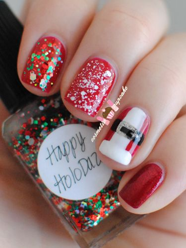 winter-nails-cute-designs-red white color-glitter