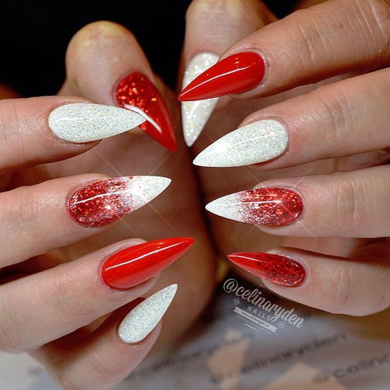 winter-nails-cute-designs-red-white silver Christmas-glitter