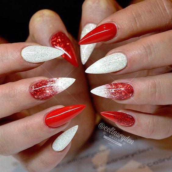27 christmas nail designs festive nail art ideas winter nails cute designs red white silver christmas glitter prinsesfo Choice Image