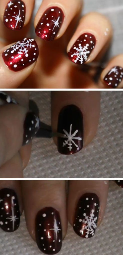 winter-nails-cute-designs-red-white snowflakeg