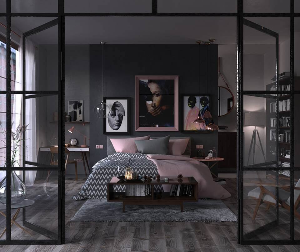 Cosy black bedroom idea